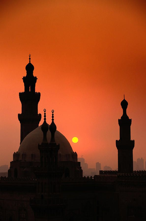 Mosques And Sunset In Cairo, Egypt