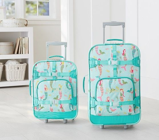 Aqua Mermaid Luggage | Pottery Barn Kids l Cute Kid Luggage l www.CarolinaDesigns.com