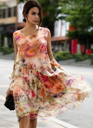 Robes Élégant Florale Sans manches Au niveau du genou (1047097)