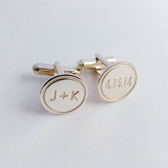 Personalized Wedding Cufflinks,Groom Wedding Cufflinks,Date and Initials Cufflinks,Engraved CuffLink