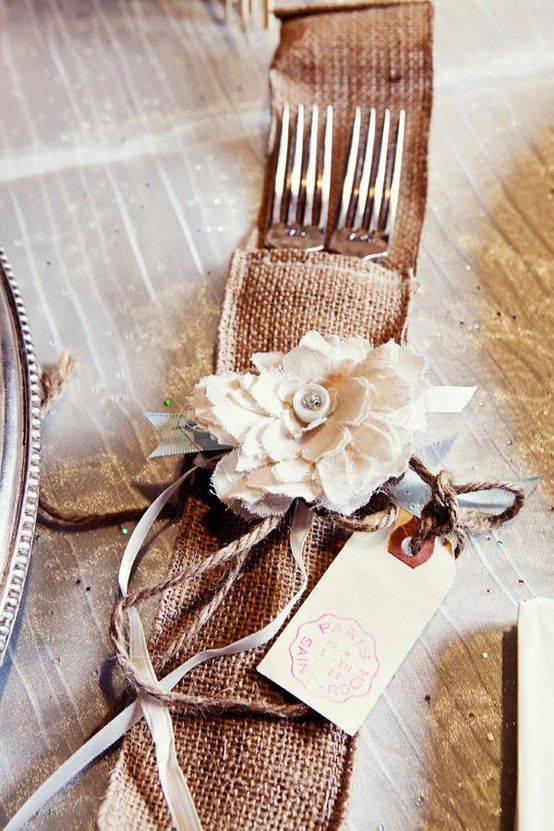 Ticking and Toile: ~burlap, lace & baby's breath tablesetting~