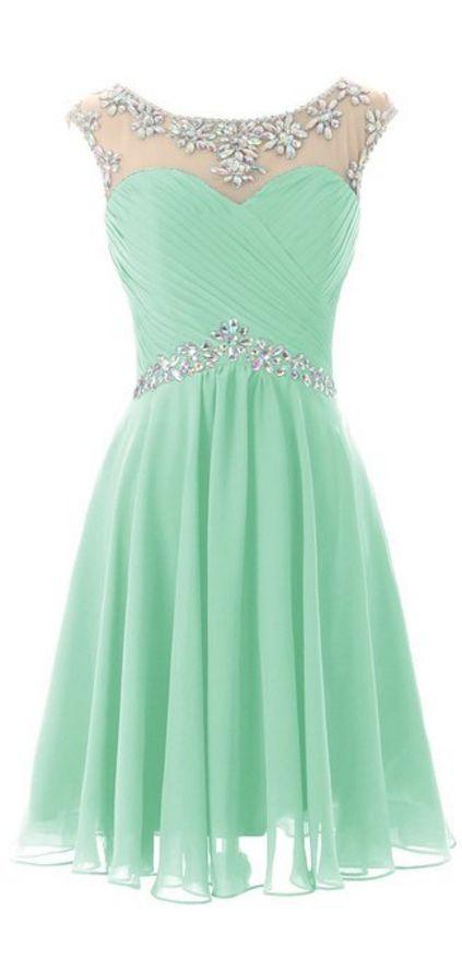Light Green Homecoming Dresses, Kne