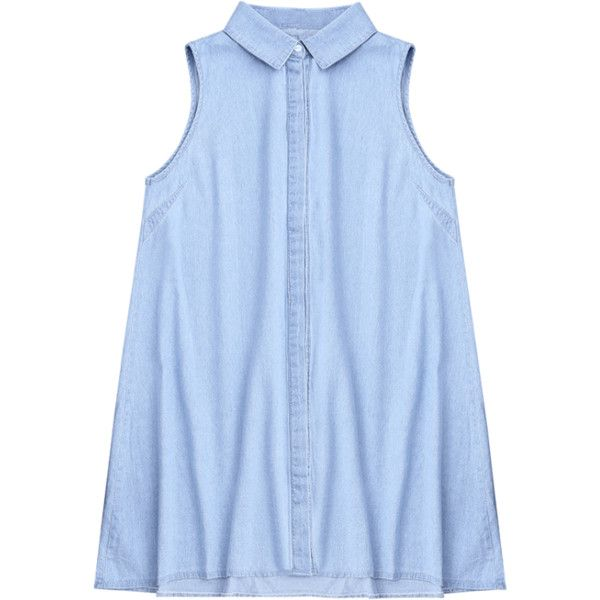 Sleeveless Denim Shift Shirt Dress (€17) ❤ liked on Polyvore featuring dresses, light blue dress, denim shift dress, sleeveless denim dress, sleeveless dress and sleeveless shirt dress
