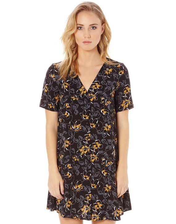 Button Front Floral Dress
