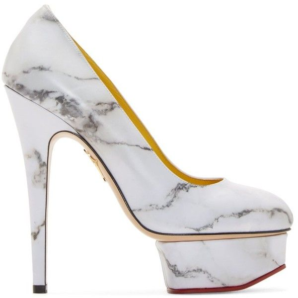 Charlotte Olympia White Marble Dolly Pumps ($630) ❤ liked on Polyvore featuring shoes, pumps, white pumps, white court shoes, genuine leather shoes, almond toe platform pumps and print pumps