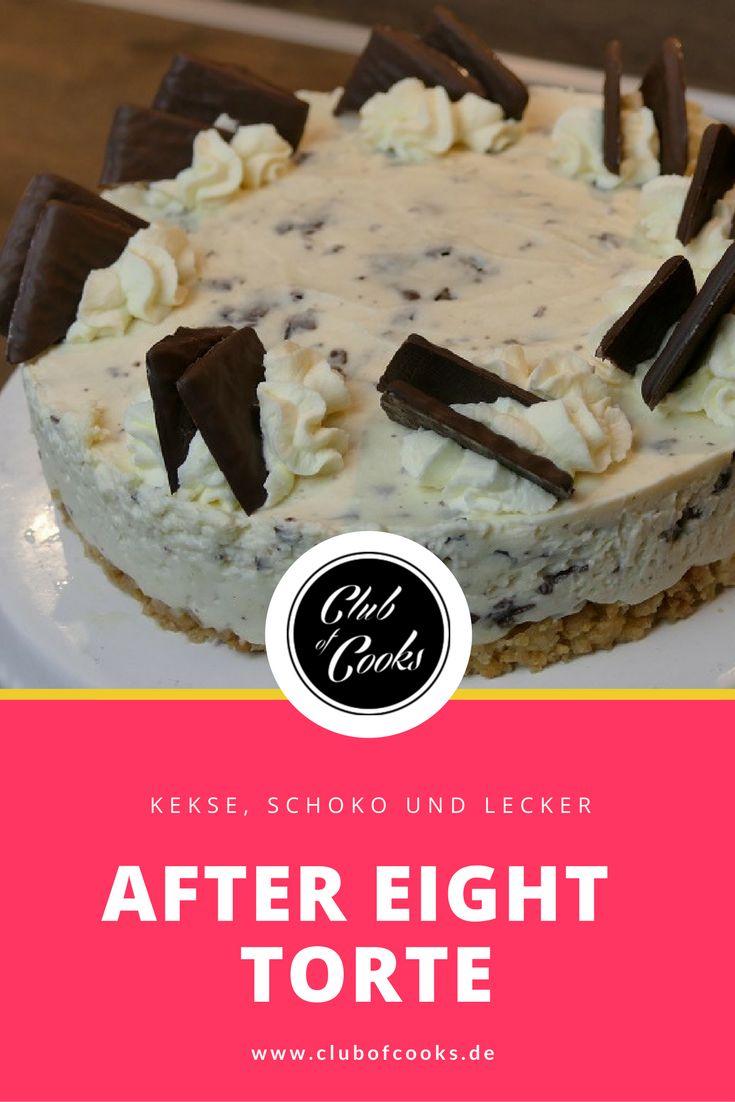 Diese After Eight Torte wird mit einem Keks-Boden zubereite. Das Rezept für die Liebhaber der kleinen Schoko-Tafeln mit Pfefferminz.