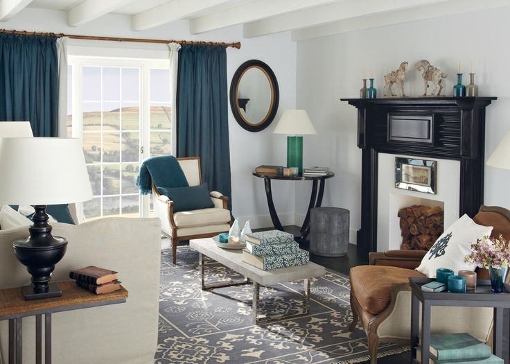 Weekend life inspiration oka direct teal curtains against grey wall