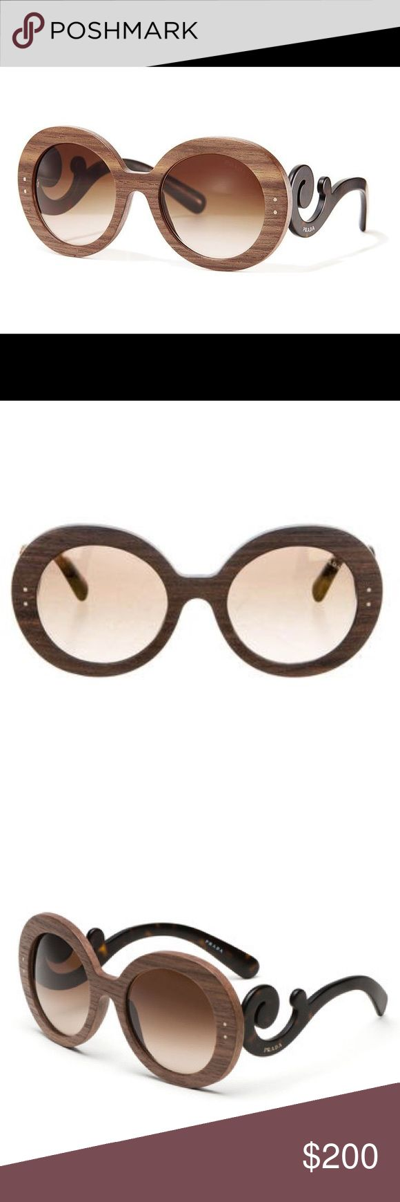 NWOT Prada PR 27RS BAROQUE Women's Sunglasses Brand new w/out tags, never worn! Perf condition.  Spring is just around the corner & that means festival season! What would Coachella be without these GORG Prada's shading your view?  From the Raw Edition Collection. Dark brown & caramel w/ wooden face frame, brown tinted lenses & tortoise decorative arms. No case included.  Frame Color: Nut Canaletto  Lens Color: Brown Gradient Polarized Lens: No  Frame Shape: Round   Lens Width: 55 mm Bridge…