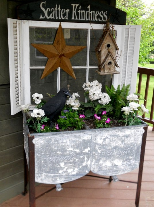Old Double Wash Tubs...with planted flowers & a crow...old window with shutters.