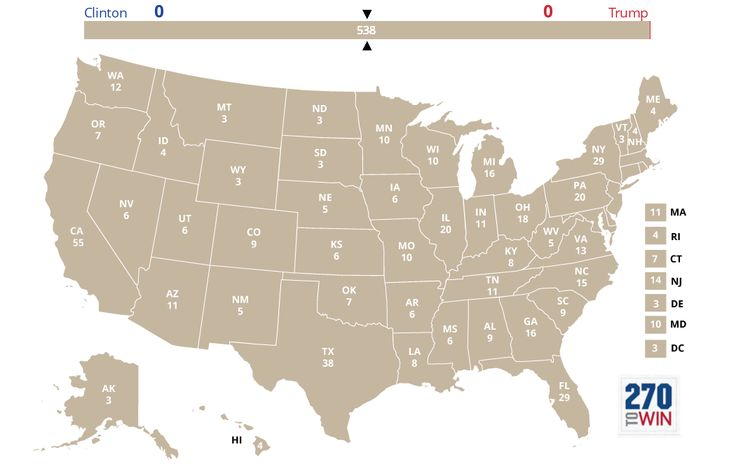 2016 electoral map that starts at 0-0, with all states shown as undecided.