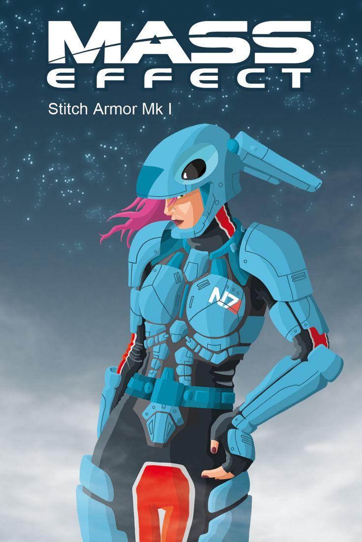 Photoshop Drawing, Mass Effect and Stitch mash up illustration.
