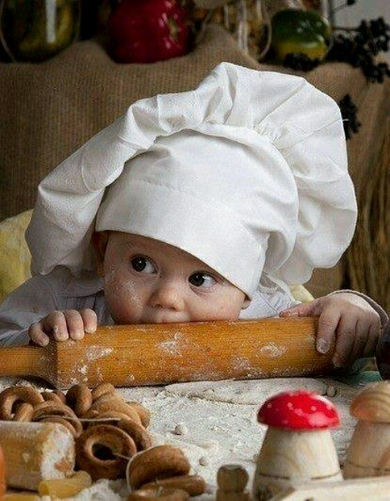 photo ... baby portrait ... chef outfit ... gumming a rolling pin ...