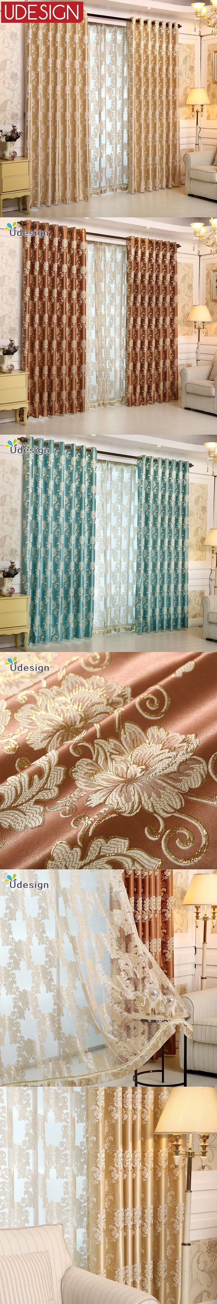 European Roray Luxury Curtains  Floral 60% Blackout Curtains for Living Room Tulle Curtains Window Blinds Drapes Rideaux Voile $23.64