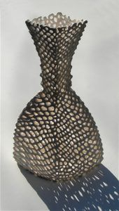 """Netted Vessel"" Slip-Trailed Porcelain - Maggie Williams 2004"