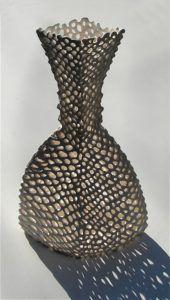 """Netted Vessel"" Slip-Trailed Porcelain - Maggie Williams 2004"