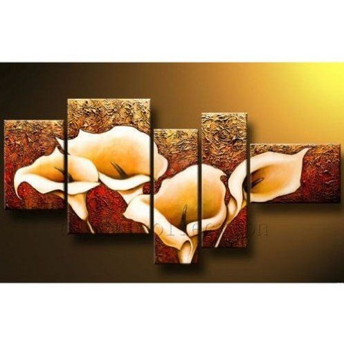 TOPSELLER! 5 Pics Calla Lily Flower Large Abstract Modern 100% Hand Painted Oil Painting on Canvas Wall Art Deco Home Decoration (Uns... $75.00