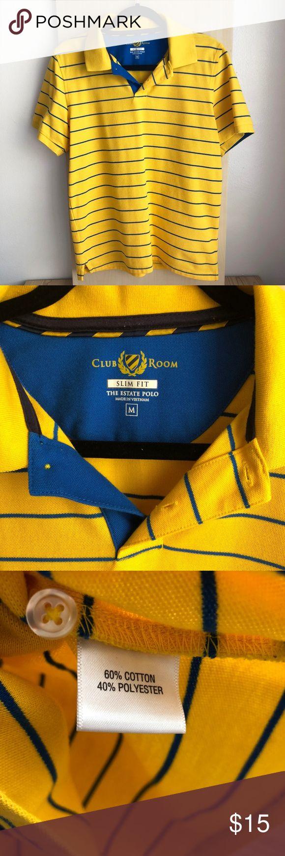 NWOT Herren Club Room Slim Fit The Estate Polo Farbe: Gelb, Blau Größe: M D …