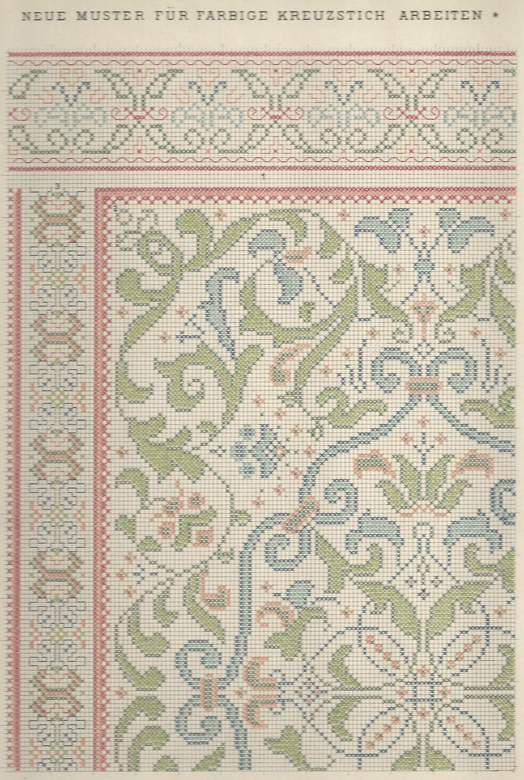 1 / Blatt 7 - Neue Muster-Vorlagen Fur Farbige Kreuzstich-Arbeiten - A. Scheffers - Published by J. M. Gebhardt's Verlag, Leopold Gebhardt, 1887