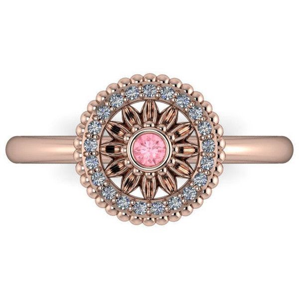 DAISY Light Pink Sapphire Flower Engagement Ring with a Canadian... ($1,225) ❤ liked on Polyvore featuring jewelry, rings, 14k diamond ring, 18k gold ring, flower diamond ring, halo diamond engagement rings and gold engagement rings