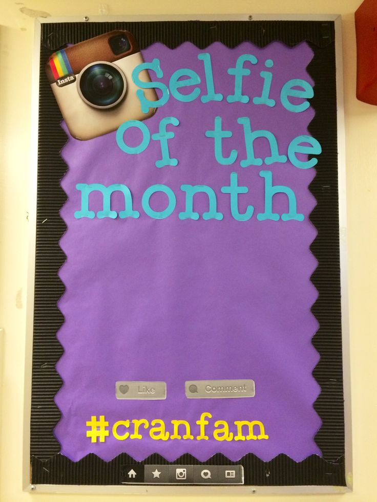 "This ""Selfie of the Month"" board is for my building Crandall Hall. My Hall…"