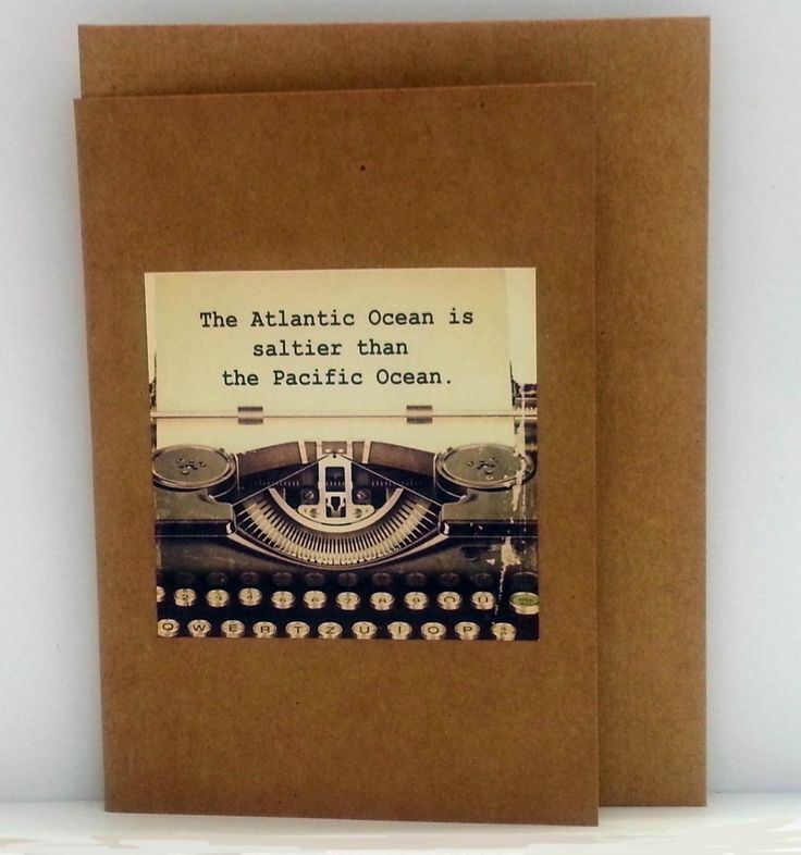 "Jude Fellows - Handmade Cards  Gift Cards with Quirky Facts ""The Atlantic Ocean is saltier than the Pacific Ocean"""