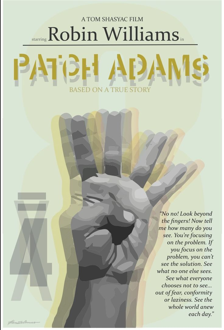 Patch Adams Poster Design || Robin Williams || Quotes || Don't focus on the problem || The answer is eight not four