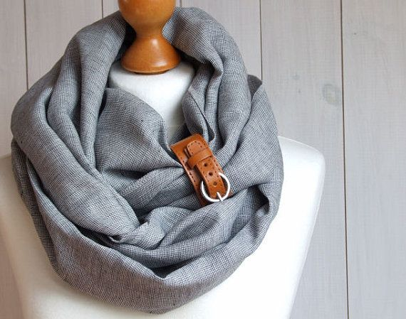 Chunky linen infinity scarf with leather cuff