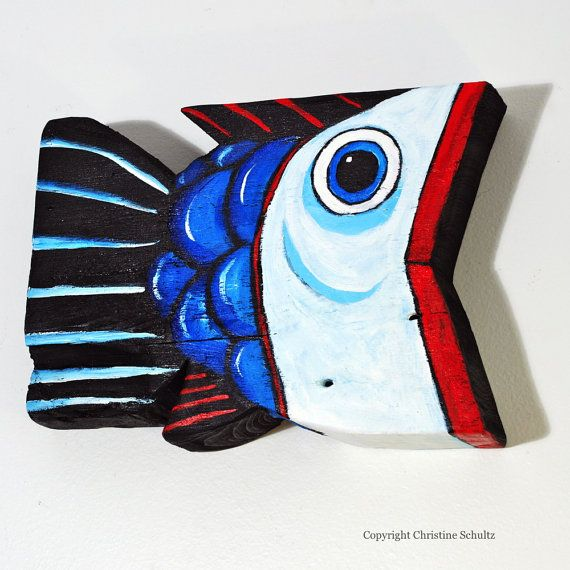 Painted Wood Fish Red, White, and Blue Folk Art