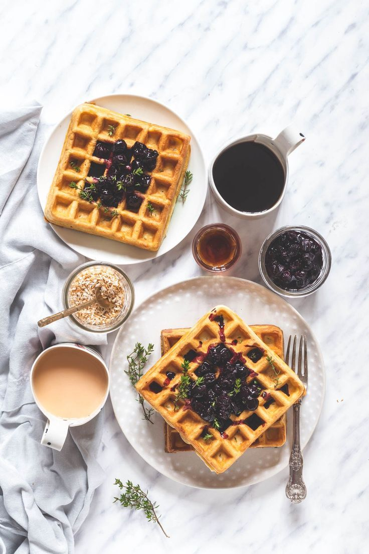 ORANGE AND THYME WAFFLES WITH BLUEBERRY COMPOTE #waffles #orange #orangewaffles #thymewaffles
