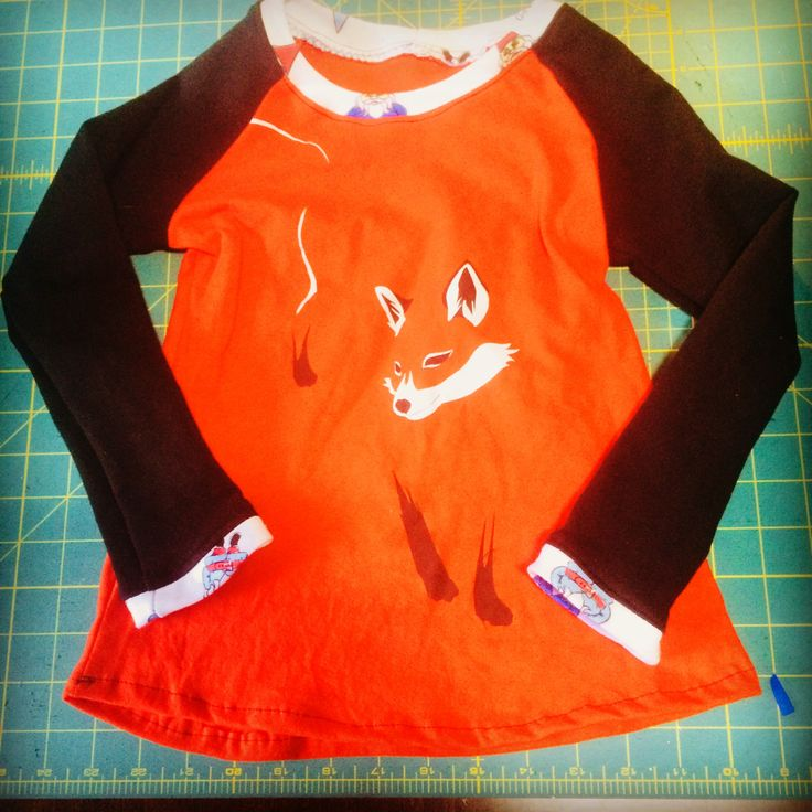 Bella Sunshine Designs Reagan Raglan made the perfect design for my old fox shirt - a remake for my 6 year old niece!