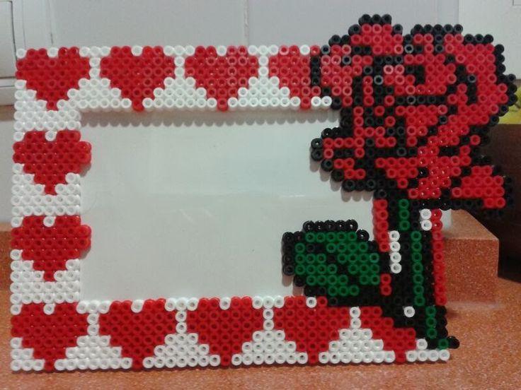 Rose and hearts photo frame hama beads (10X15) hama beads by Andres Moreno Rodriguez