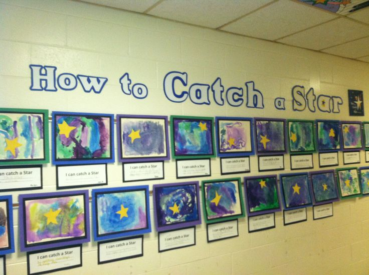 "Kindergarten..How to Catch a Star watercolor, salt, cut-paper project...students wrote, ""I would catch a star by..."""