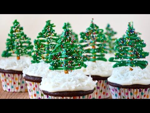 Easy Christmas Tree Cupcake Toppers - YouTube  Can do this with hearts.