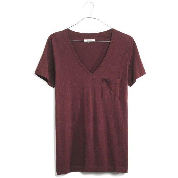 MADEWELL Slub V-Neck Pocket Tee ($18) ❤ liked on Polyvore featuring tops, t-shirts, chocolate raisin, v neck t shirts, pocket tees, v neck tee, slouchy tee and v neck pocket tee