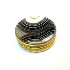 antique pill box with agate lid