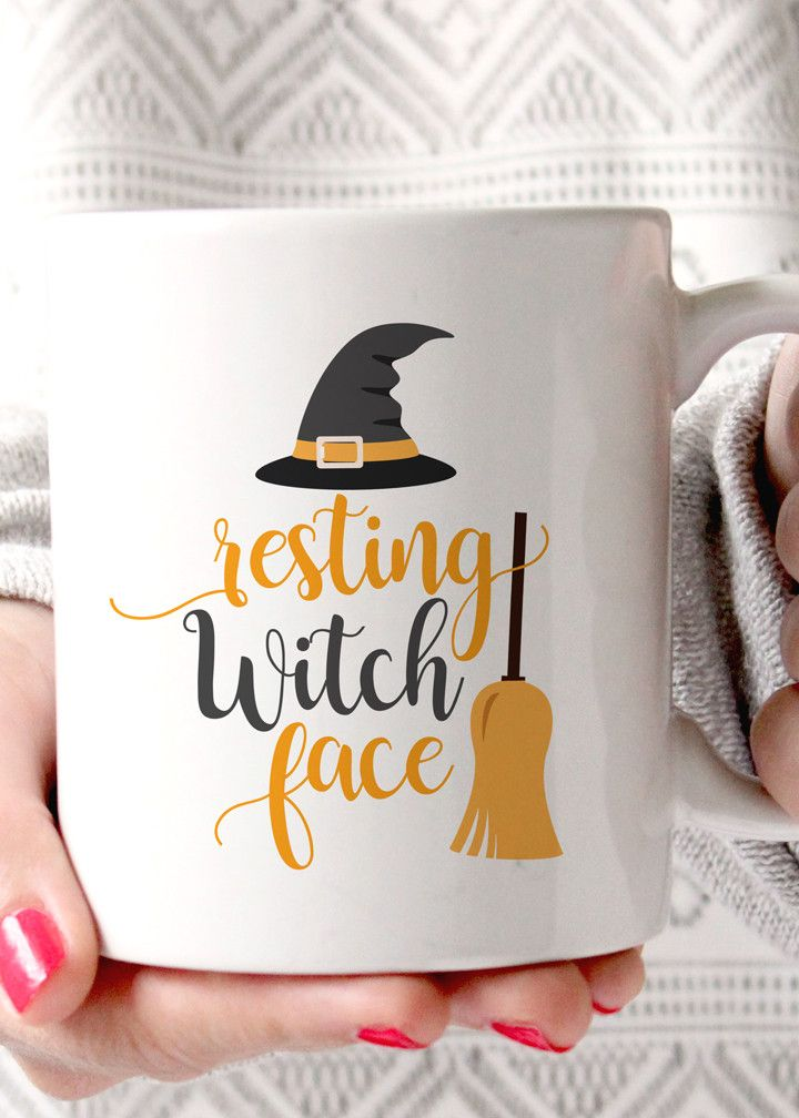 "Resting ""Witch"" Face coffee mug. The perfect mug for anyone suffering from resting ""witch"" face this fall. - 11oz Premium Coffee Mug - Double Sided - Dishwasher safe - Made in the USA Please Note: Mug"