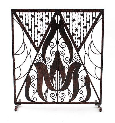 Wrought iron Art Deco fireguard in the style of Edgar Brandt France ca.1925