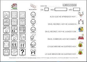 """Informática para Educación Especial: Documento adaptado con pictogramas para la """"Valoración personal de las actividades diarias realizadas en el colegio""""."""