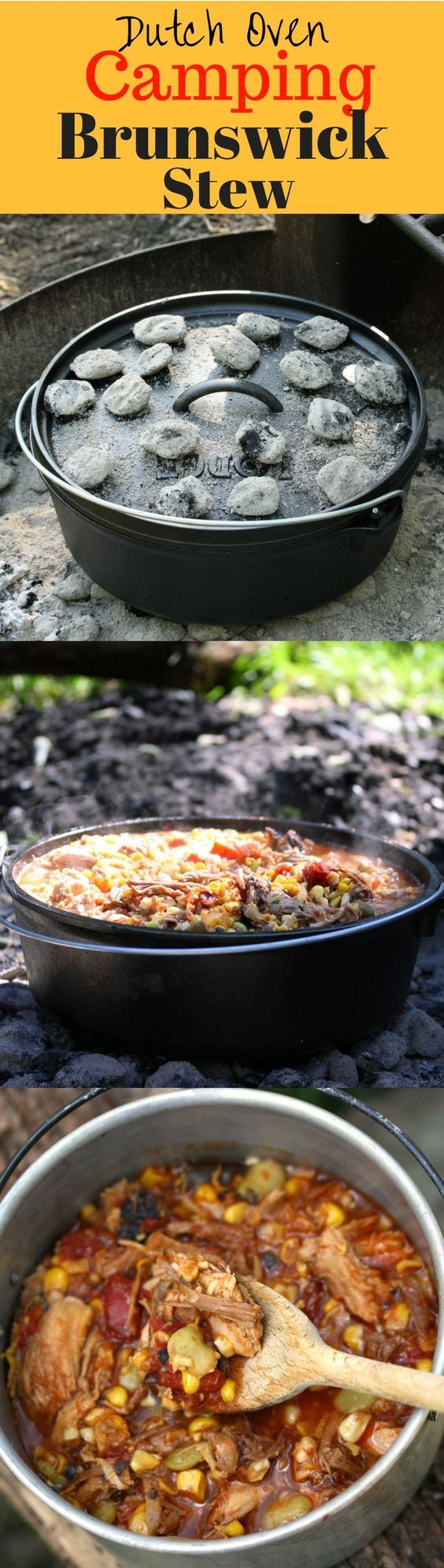 Brunswick Stew - a delicious tomato based stew containing lima beans, okra, corn and other vegetables, plus various types of smoked meats.  Perfect cooked over hot coals in a Lodge Dutch Oven after a fun day hiking and enjoying the great outdoors!  www.savingdessert.com