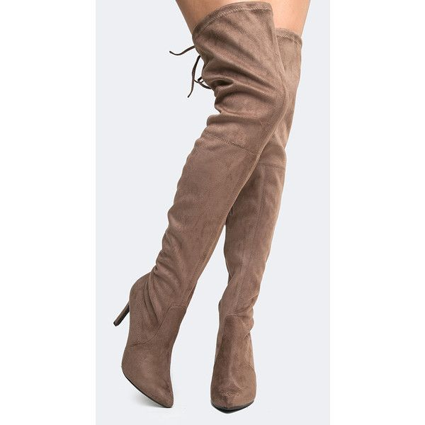Breckelles Over the Knee High Heel Boot ($42) ❤ liked on Polyvore featuring shoes, boots, grey, over-the-knee boots, grey over knee boots, pull on boots, slip on boots, gray over the knee boots and high heel boots