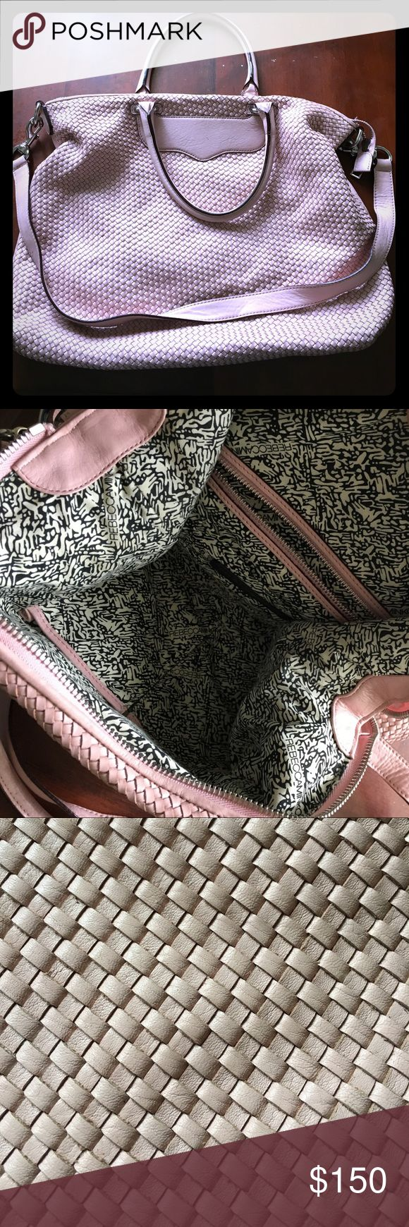 Rebecca Minkoff Work Tote! Purchased from Nordstrom. All pictures of my actual purse. Used a lot when I worked in corporate but still in good condition with lots of life left! Pretty blush pink color. Great size - can easily fit laptop, notebooks, and lunch. Handles are large enough to wear bag over shoulder. Also comes with removable cross body strap. Always got compliments on the color and the fact that it doesn't look like every other R. minkoff work tote! Rebecca Minkoff Bags