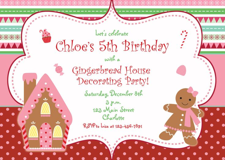 fun idea for kids, let them have a holiday party, birthday not requored. just have friends over to make ginger bread houses.  Gingerbread house Christmas party invitation  by TheButterflyPress, $12.00