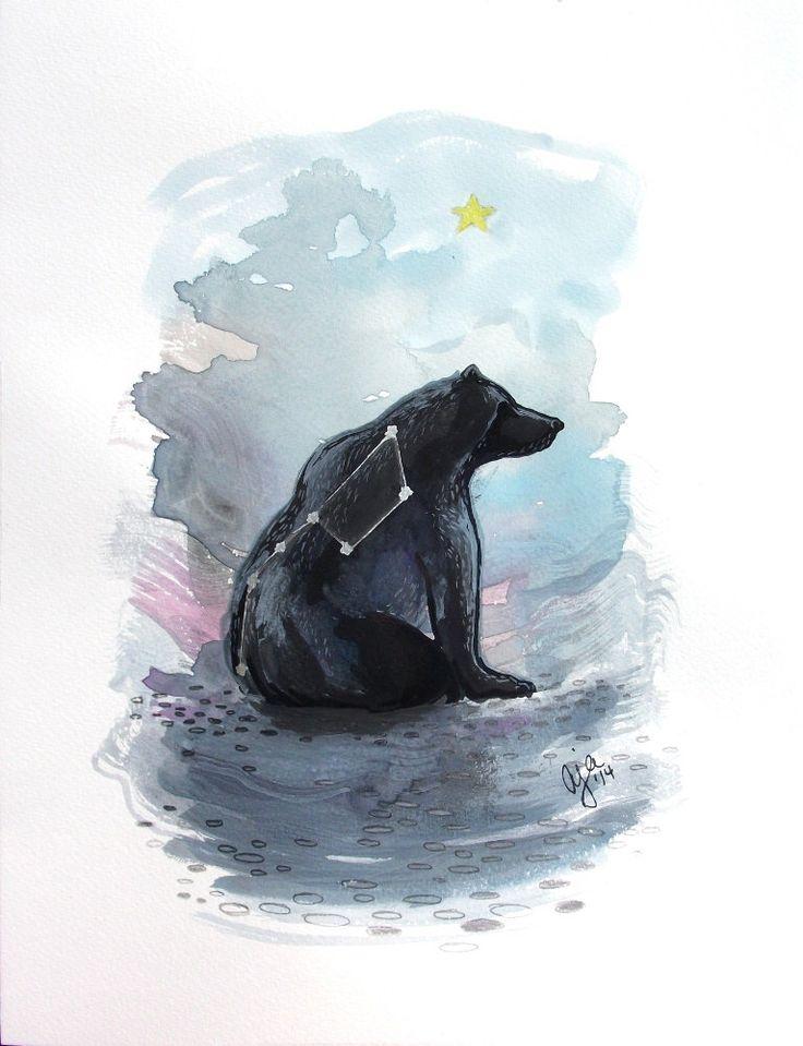 Ursa Major - bear big dipper print of original watercolor illustration 9x12 or 18x24 inches choose size by SagittariusGallery on Etsy https://www.etsy.com/listing/187894260/ursa-major-bear-big-dipper-print-of