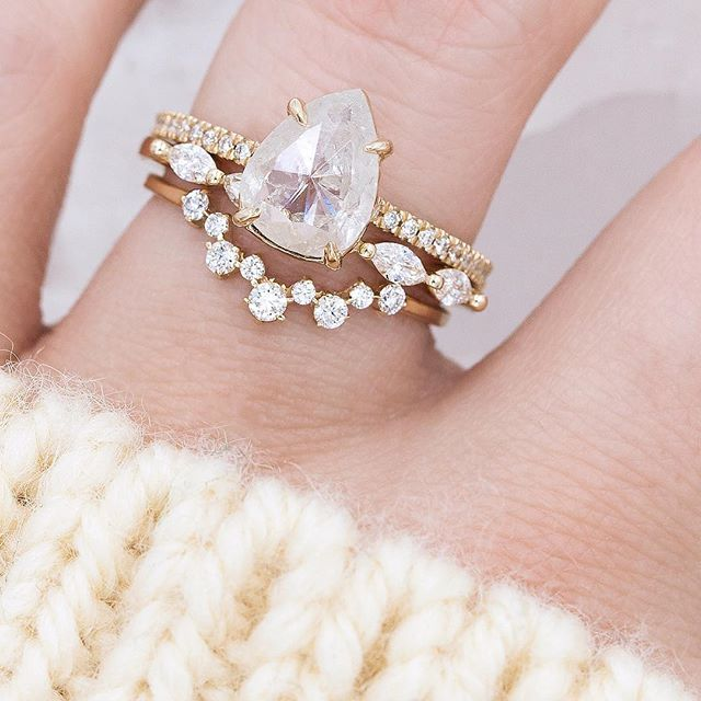 Our Best Selling Dainty Bands. The Sun King Marquise Diamond Ring and Aster Cluster Band perfectly compliment our 1.50-Carat Rustic White Diamond Ring . . .  #jewelry #finejewelry #jewelryoftheday #engagamentring #alternativebridal #indiewedding #peardiamond #rosecutpear #rusticdiamond #weddingring #rosecut #solitaire #diamondlife #diamondring #marquiseband #eastwest #futureheirlooms #ringsofinstagram #ringstagram #featuremewf #stacksarethenewblack #huffpostido #weddingforward…