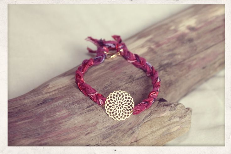 Braided with Love, filigree bracelet! Made from 14k gold plated charm and silky satin ribbons.