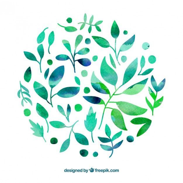 水彩画のスタイルで手描きの葉 無料ベクター