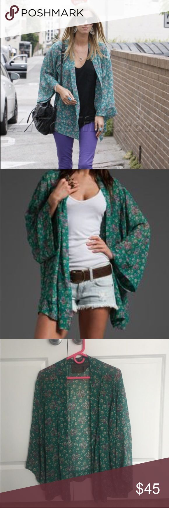 Free People x Blu Moon Jade Kimono Bohemian floral Kimono by Free People x Blu Moon collaboration. Great to pair with shorts, jeans, and dresses. Seen on celebrity  Nicky Hilton. Free People Tops