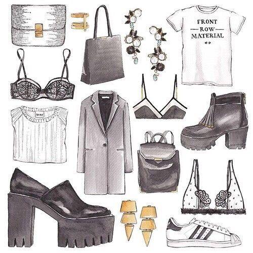 Fashion illustration, clothes.. Artist unknown