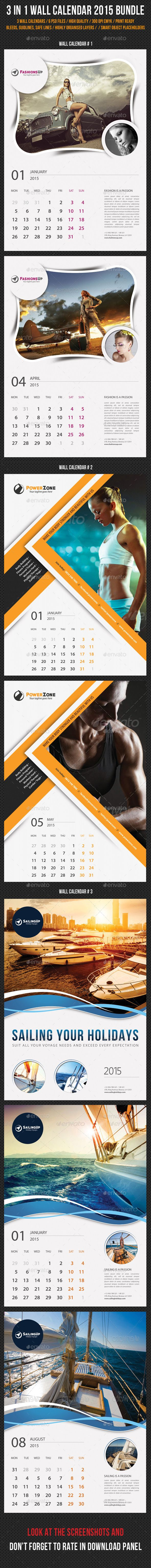 3 in 1 Wall Calendar 2015 Bundle Template | Buy and Download: http://graphicriver.net/item/3-in-1-wall-calendar-2015-bundle-v05/9559165?ref=ksioks