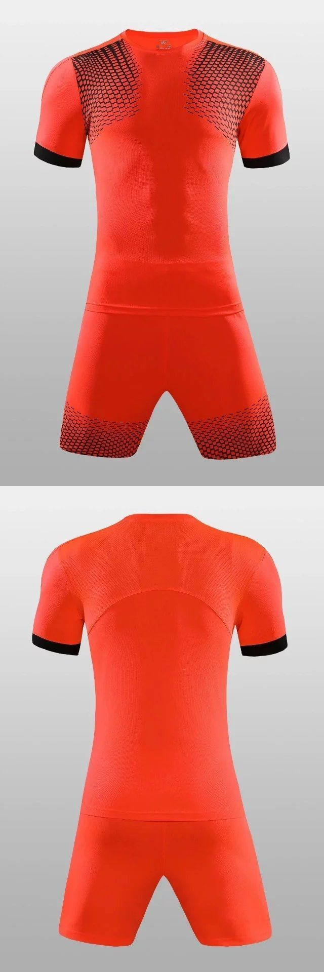 Football Jersey Men's #soccer kits print Long sleeve jersey football sets training Sports suit soccer jerseys orange 17/18